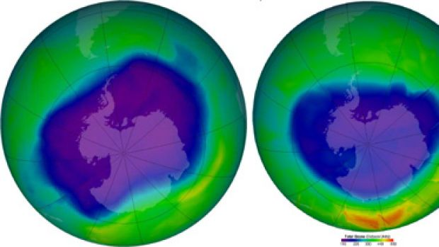 Big hole... left, a September 2006 compiled satellite image shows the ozone hole over Antarctica at its largest - 27.4 ...