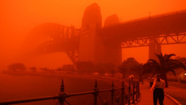 A blanket of dust covers Sydney.
