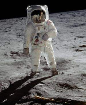 It looks arid ... Buzz Aldrin during the first moon landing.