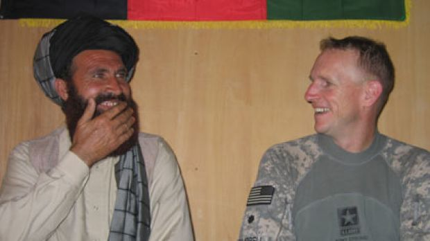 Power talks...tribal elder Haji Sangeen and US colonel Rob Campbell.