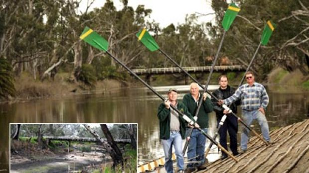 Members of the Dimboola Rowing Club Rod Lehmann, Adrian Werner, Jarrod Bolwell and Keith Moller beside the Wimmera River ...