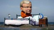 Kevin Rudd asleep by the beach as waters rise