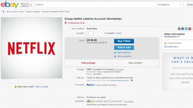 Seems legit: An eBay listing for access to a 'shared' Netflix account.