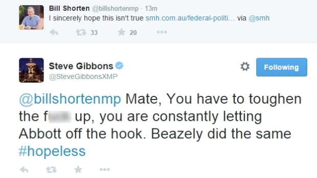 A screenshot of Opposition Leader Bill Shorten's tweet, and the response by Mr Gibbons.