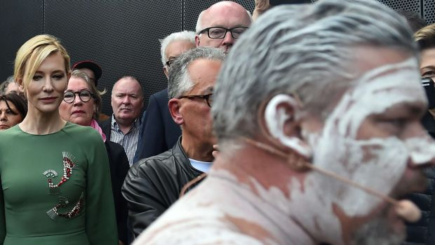Cate Blanchett and George Brandis, centre back, attend the opening ceremony of the Australian pavilion in Venice.