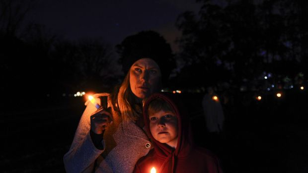 Erin Regan and her son Seth Mulvey, 9, pay tribute to Ms Regan's sister Leanne, who died as a result of domestic violence.