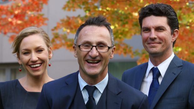 New Greens leader Senator Richard Di Natale (centre) with his co-deputies Senator Larissa Waters and Senator Scott ...