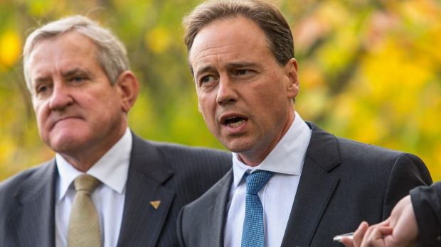 Environment Minister Greg Hunt, pictured with Industry Minister Ian Macfarlane, in Melbourne on Friday.