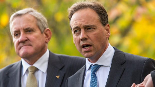Environment Minister Greg Hunt, with Industry Minister Ian Macfarlane.