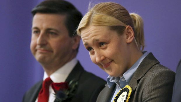 Paisley and Renfrewshire South constituency winner Mhairi Black of the Scottish National Party and Labour's Douglas ...
