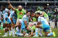 Sam Williams of the Raiders scores a try during the round nine NRL match between the Canberra Raiders and the Gold Coast ...