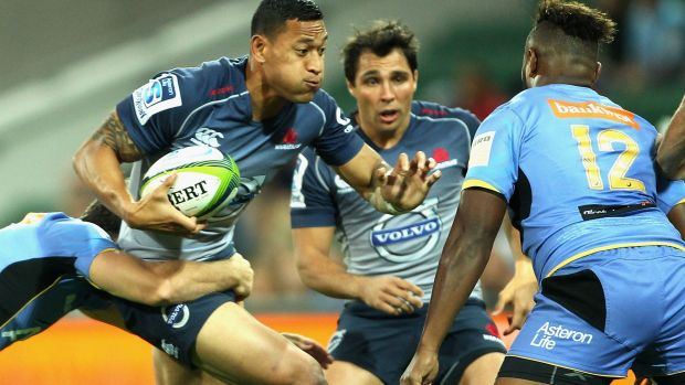 Frustrating night: Israel Folau looks to find a way through.