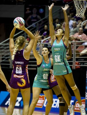 Geva Mentor defending for the Vixens during the ANZ Championship clash with the Firebirds.