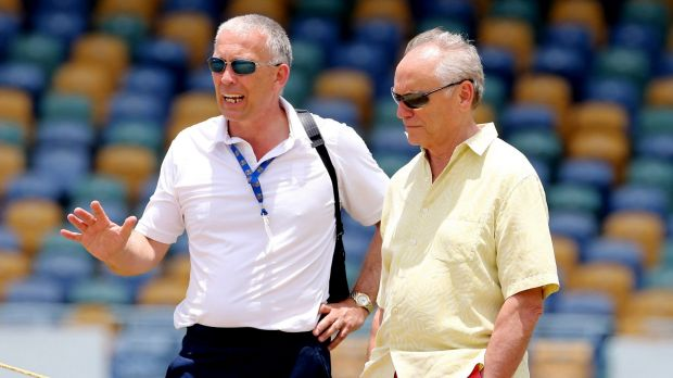ECB chairman Colin Graves (right), seen here with head of selectors James Whitaker, is likely to favour Jason Gillespie ...