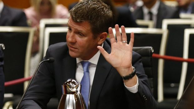 Premier Mike Baird at the NSW parliamentary committee hearing into electricity privatisation last week.