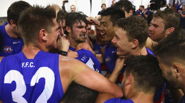 Up: The Western Bulldogs celebrate after their round 5 win over Sydney.