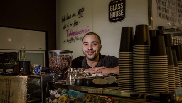 Glass House Cafe manager Adam Charif says public service jobs are the business's lifeline.