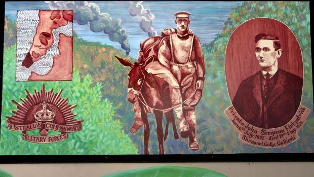 "Mural of Simpson and his donkey at the Dapto Ribbonwood Centre: ""In death, he found a grace he never enjoyed in life,"" ..."
