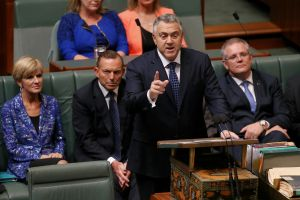 Treasurer Joe Hockey hands down the Budget in the House of Representatives.