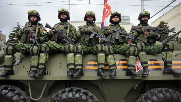 Pro-Russian separatists of the self-proclaimed Donetsk People's Republic in Donetsk on Saturday.