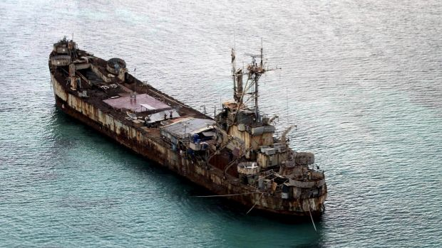 Filipino soldiers on the Sierra Madre, a rusting hulk anchored near Ayungin shoal (Second Thomas Shoal) in the Spratly ...