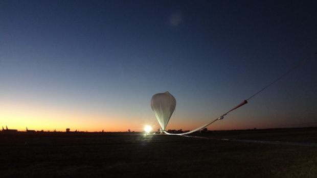 The giant zero pressure balloon is launched at Alice Springs on Tuesday.