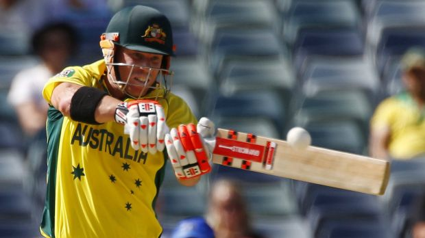 David Warner belts a four during the World Cup.