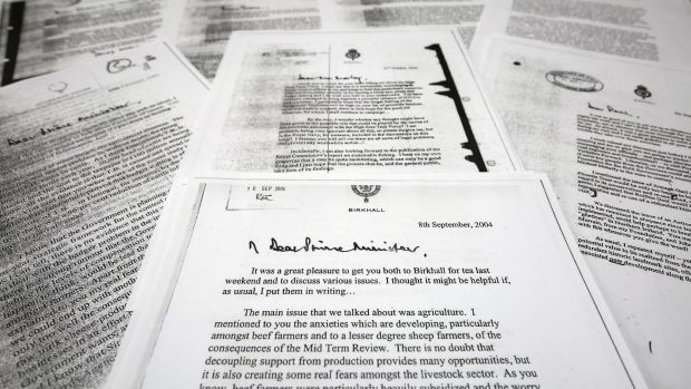 """""""Black spider memos"""": Some of the 27 letters written between Prince Charles and Tony Blair's government, showing the ..."""