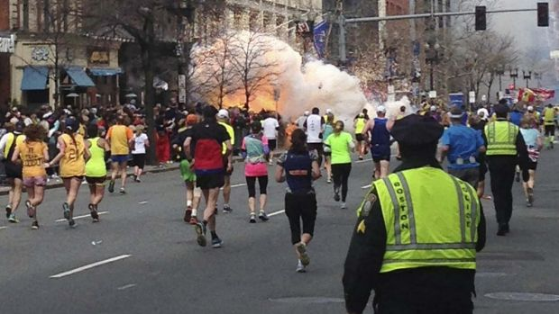 The explosion at the finish line of the Boston Marathon in 2013.
