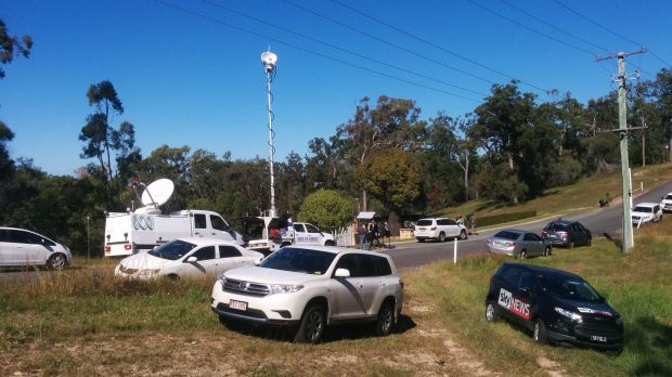 Media camp outside the property.