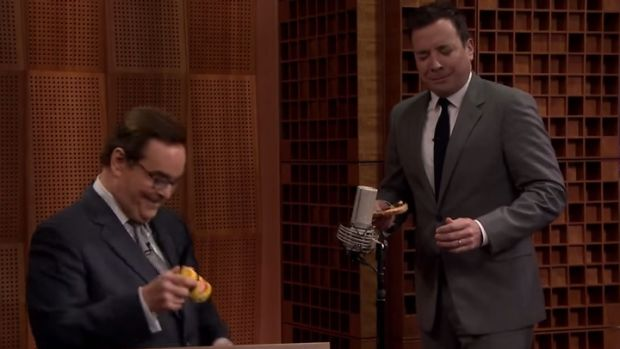 Jimmy Fallon and Steve Higgins road test Vegemite with obvious reservations.
