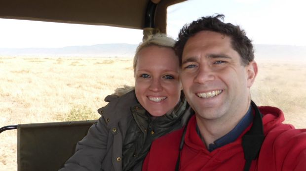 Danielle Fryday and her husband Nick on safari. They're running in the half marathon to raise money for endangered rhinos.