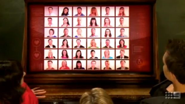 Ms Stuart-Carberry's face appears on a matrix of prospective matches.