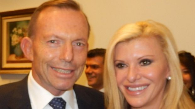 Tony Abbott and <i>Real Housewives of Melbourne</i> star Gamble Breaux meet on budget night in Canberra.