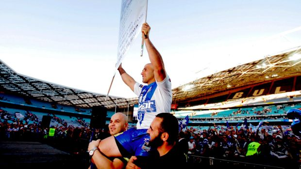Club legend: Bulldogs stalwart Hazem El Masri is chaired off the field in his farewell game at ANZ Stadium in 2009.
