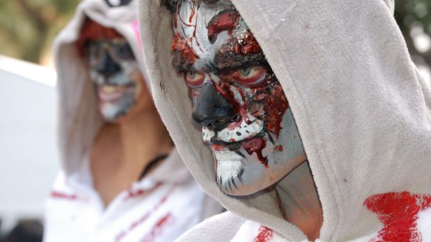Zombie koalas protest the ANZ branch in the Queen Street Mall on Sunday.