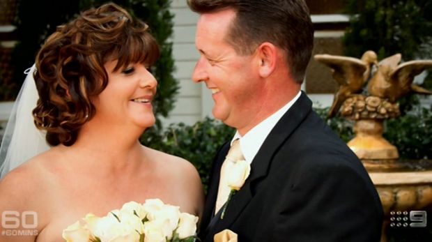 Happier times: Sharon and Steve on their wedding day.