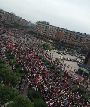Thousands of Linshui residents marched on Saturday to protest a regional high-speed rail link bypassing their region.