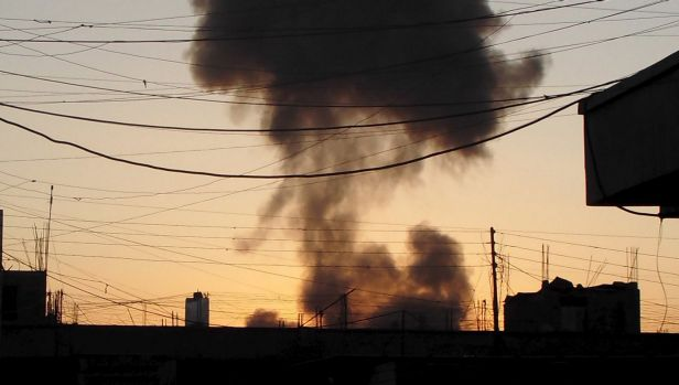 Smoke rises after a bomb attack in the city of Ramadi.
