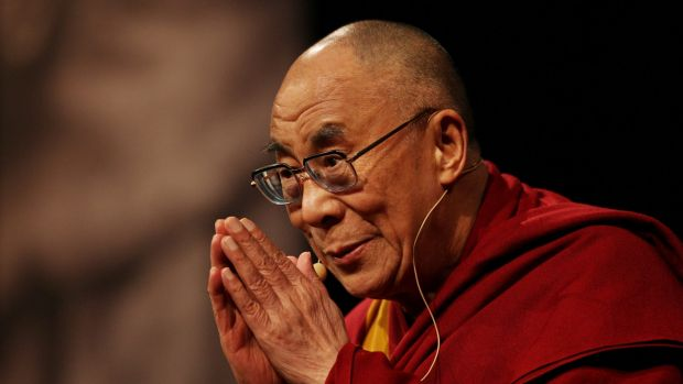 as110614. NEWS. Canberra Times photo by Andrew Sheargold. DALAI LAMA. pic of the Dalai Lama speaking to an audience at ...