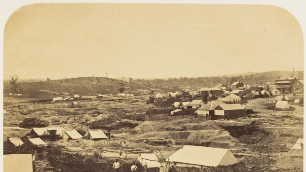 Pioneer photographer Richard Daintree captured the manmade devastation of the Forest Creek diggings in this view of ...