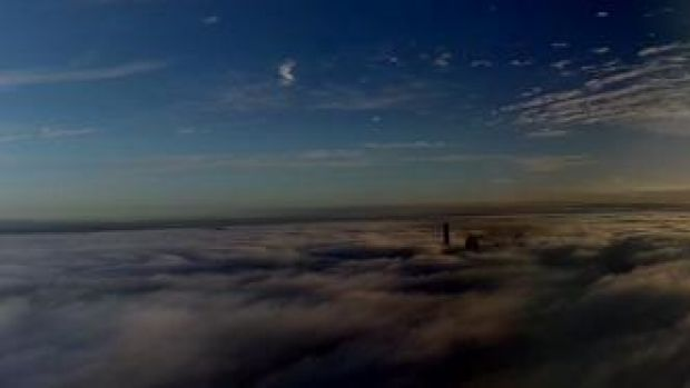 A thick fog blanketed Brisbane on Wednesday morning.