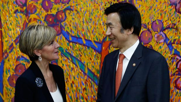 Foreign Affairs Minister Julie Bishop with her  South Korean counterpart, Yun Byung-se, in Seoul.