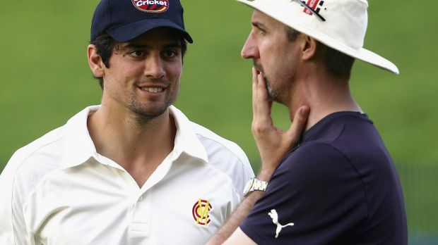 Jibe: Jason Gillespie with England captain Alastair Cook in March.