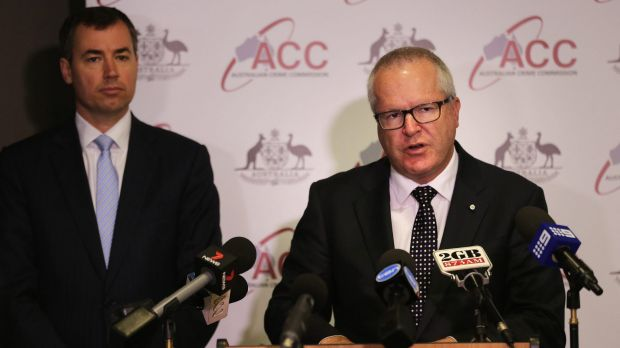 Justice Mnister Michael Keenan, left,  and Australian Crime Commission chief Chris Dawson. The government plans to ...
