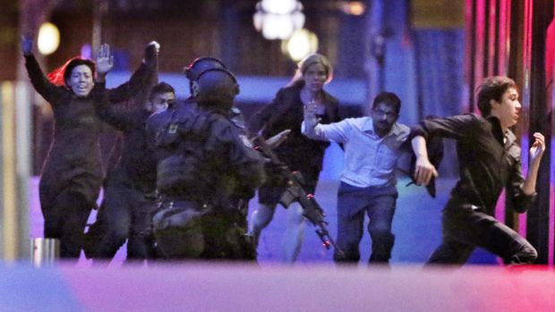 The moment five hostages fled the Lindt cafe.