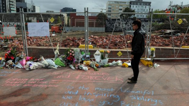The site of the fatal Swanston Street wall collapse.