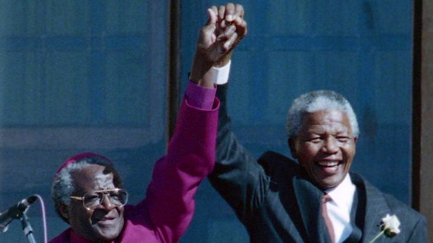 Desmond Tutu and Nelson Mandela in Cape Town in 1994.