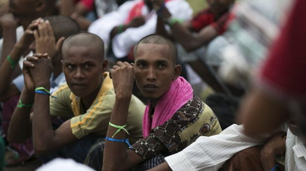 Rohingya migrants at a temporary shelter  near Langsa in Indonesia's Aceh Province.