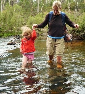 Mrs Yowie helps Emily across the river on the walk to the Big Hole.